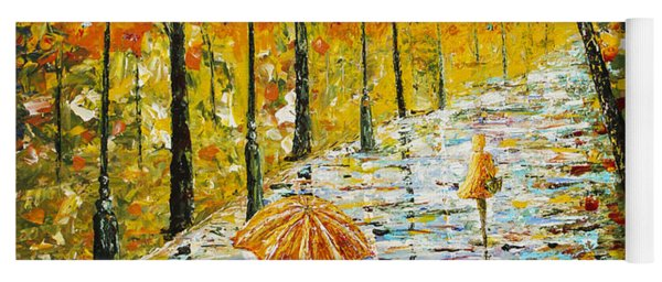 Rainy Autumn Beauty Original Palette Knife Painting Yoga Mat