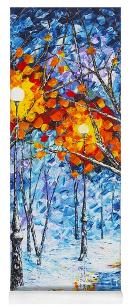 Silence Winter Night Light Reflections Original Palette Knife Painting Yoga Mat