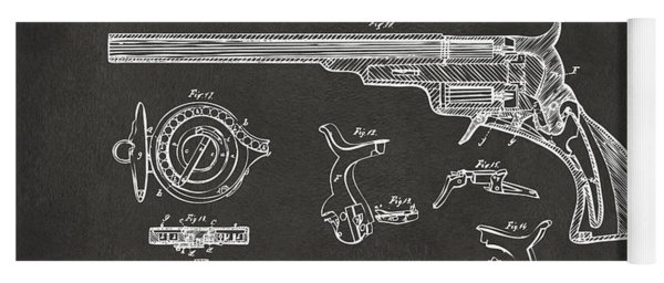 1839 Colt Fire Arm Patent Artwork - Gray Yoga Mat