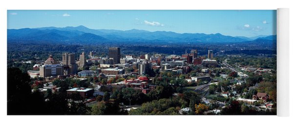 Aerial View Of A City, Asheville Yoga Mat