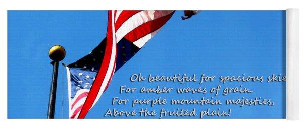 America The Beautiful - Us Flag By Sharon Cummings Song Lyrics Yoga Mat