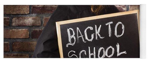 Back To School Teacher Holding Blackboard And Chalk Yoga Mat