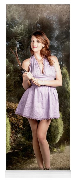 Beautiful Retro Maid With Hedge Clippers In Garden Yoga Mat