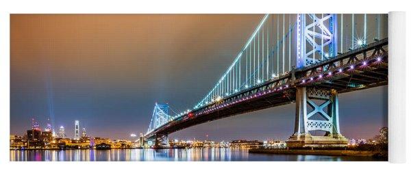 Ben Franklin Bridge And Philadelphia Skyline By Night Yoga Mat