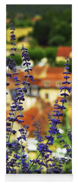 Blue Flowers And Rooftops In Sarlat Yoga Mat