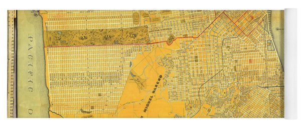 Britton And Reys Guide Map Of The City Of San Francisco. 1887. Yoga Mat