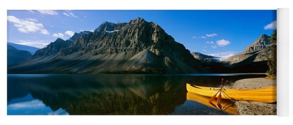 Canoe At The Lakeside, Bow Lake, Banff Yoga Mat