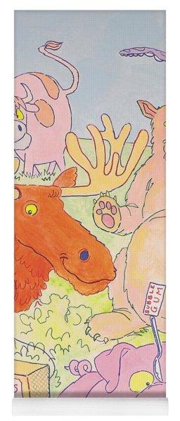 Cartoon Animals Yoga Mat