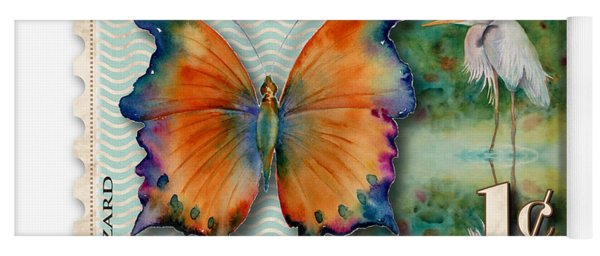 1 Cent Butterfly Stamp Yoga Mat