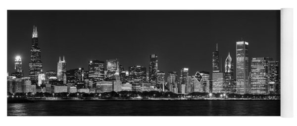 Chicago Skyline At Night Black And White Panoramic Yoga Mat