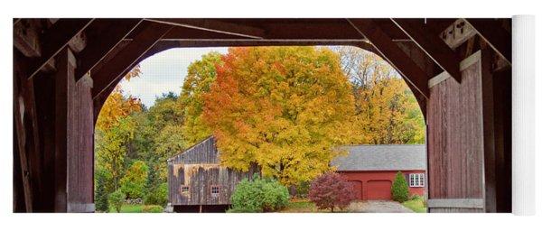 Covered Bridge In Autumn Yoga Mat