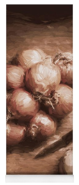 Digital Painting Of Brown Onions On Kitchen Table Yoga Mat