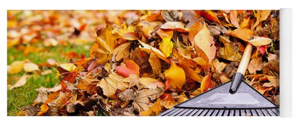 Fall Leaves With Rake Yoga Mat