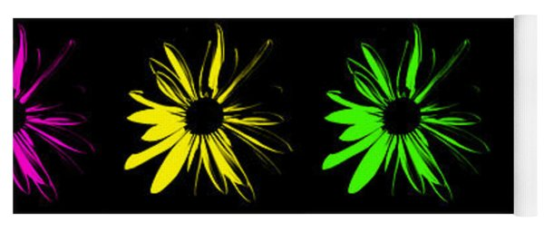 Flowers On Black Yoga Mat