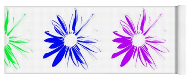 Flowers On White Yoga Mat