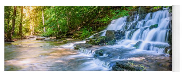 Forest Stream And Waterfall Yoga Mat