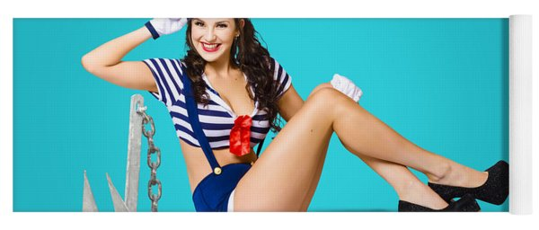 Gorgeous Pin Up Sailor Girl Wearing Hat Yoga Mat