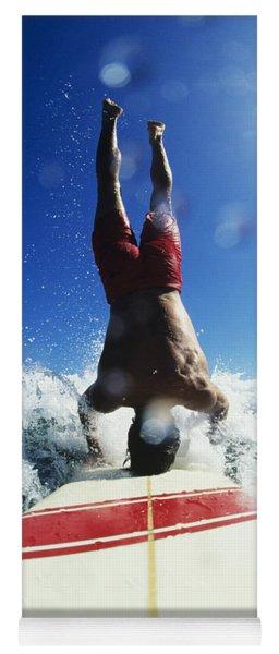 Hawaii, Maui, Hookipa, Buzzy Kerbox Riding A Wave While Doing A Headstand. Yoga Mat