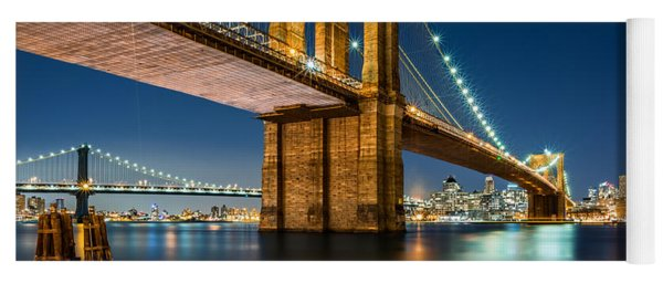 Illuminated Brooklyn Bridge By Night Yoga Mat