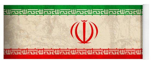Iran Flag Vintage Distressed Finish Yoga Mat