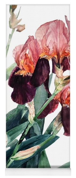 Watercolor Of A Pink And Maroon Tall Bearded Iris I Call Iris La Forza Del Destino Yoga Mat