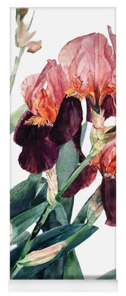 Watercolor Of A Pink And Maroon Tall Bearded Iris I Call Iris La Forza Del Destino Yoga Mat