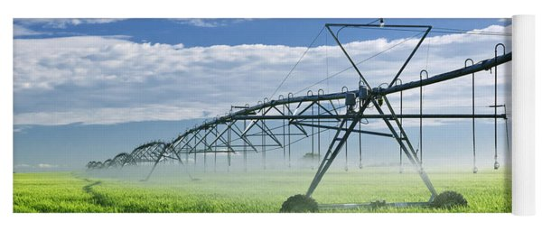 Irrigation Equipment On Farm Field Yoga Mat