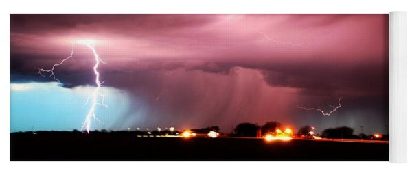 Yoga Mat featuring the photograph Late Evening Nebraska Thunderstorm by NebraskaSC