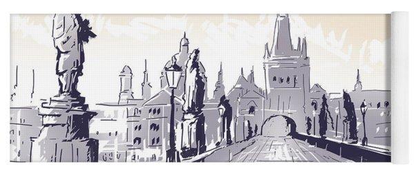 Lesser Town Bridge Tower Drawing Czech Republic Yoga Mat