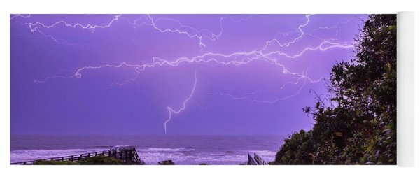Lightning Over The Beach Yoga Mat