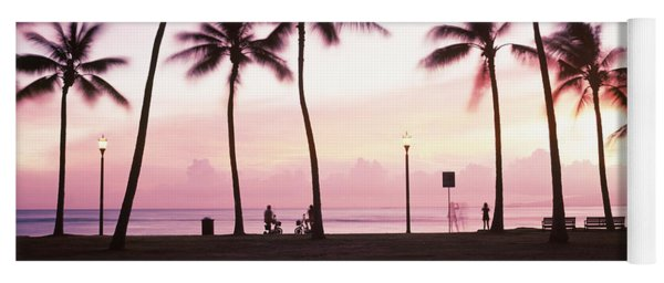 Palm Trees On The Beach, Waikiki Yoga Mat