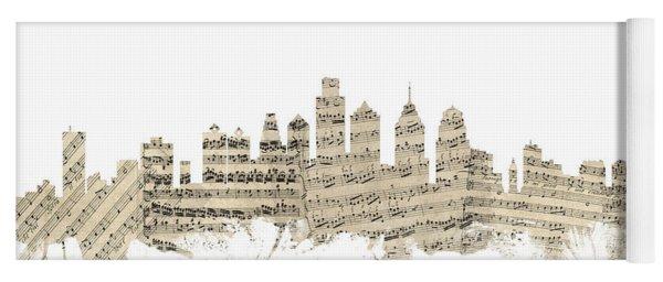 Philadelphia Pennsylvania Skyline Sheet Music Cityscape Yoga Mat