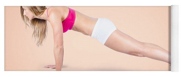 Pilates Fitness Intructor On White Background Yoga Mat