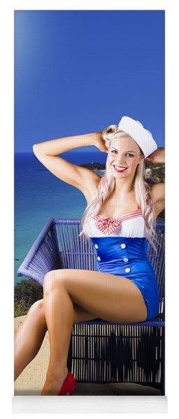 Pinup Woman On A Tropical Beach Travel Tour Yoga Mat