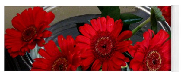 Red Flowers. Special Yoga Mat