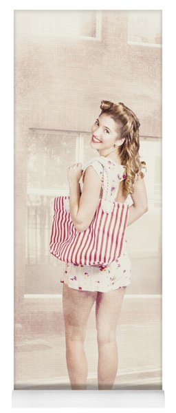 Retro Pin Up Woman Carrying Vintage Shopping Bag Yoga Mat