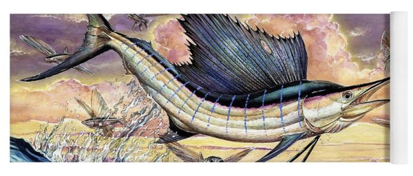 Sailfish And Flying Fish In The Sunset Yoga Mat