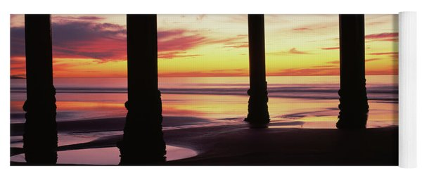 Silhouette Of A Pier In The Pacific Yoga Mat