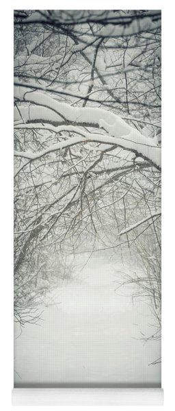 Snowy Winter Path In Forest Yoga Mat
