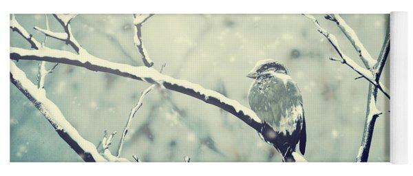 Sparrow On The Snowy Branch Yoga Mat