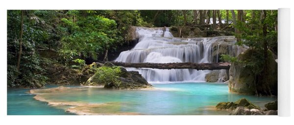 Stream With Waterfall In Tropical Forest Yoga Mat