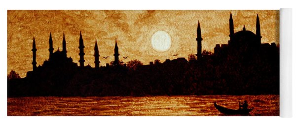 Sunset Over Istanbul Original Coffee Painting Yoga Mat