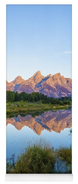 The Tetons Reflected On Schwabachers Landing - Grand Teton National Park Wyoming Yoga Mat