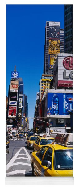 Traffic On A Street, Times Square Yoga Mat