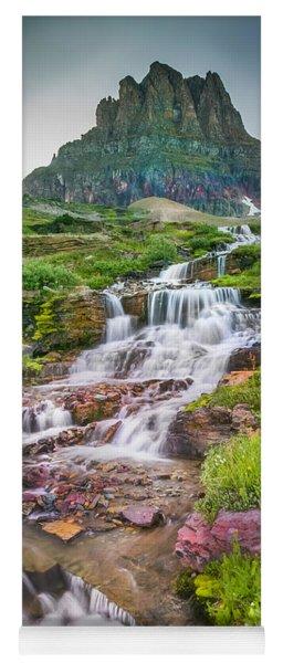 Triple Falls Stream Glacier National Park Yoga Mat