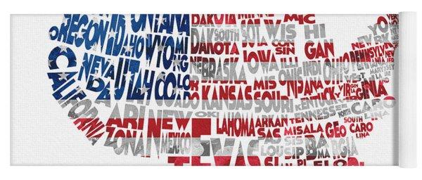 United States Typographic Map Flag Yoga Mat