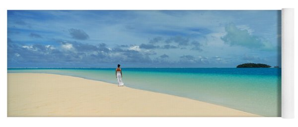 Woman In Distance On Sandbar, Aitutaki Yoga Mat