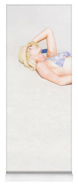 Woman Lying On Sand Yoga Mat