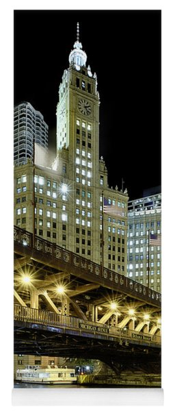 Yoga Mat featuring the photograph Wrigley Building At Night by Sebastian Musial