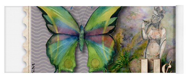 11 Cent Butterfly Stamp Yoga Mat